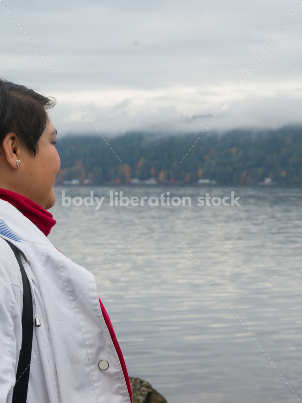 Stock Photo: Young Asian American Woman on Lake Shore - Body Liberation Photos