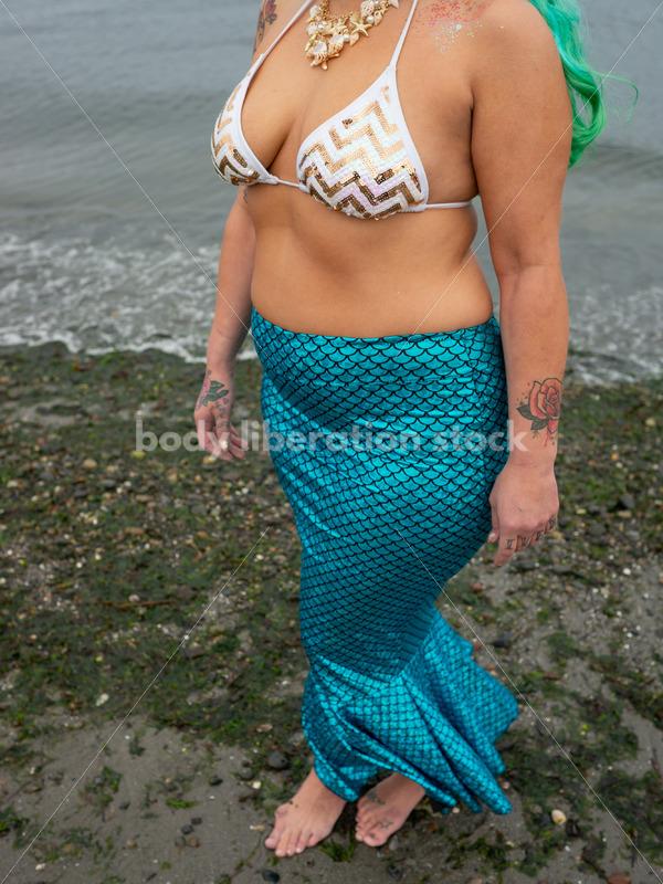 Adventure Stock Photo: Plus-Size Mermaid on Beach - Body Liberation Photos