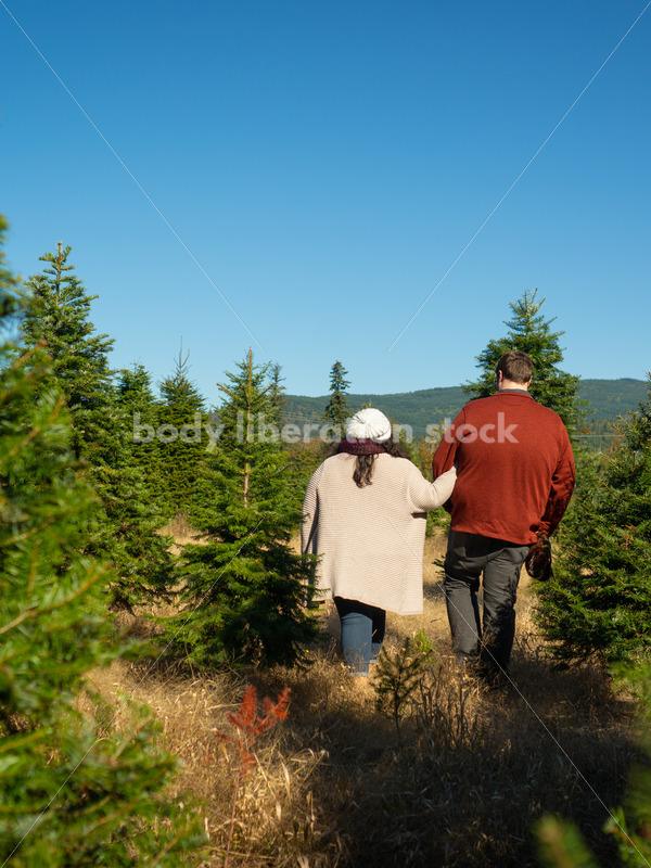 Autumn Stock Photo: Couple Strolling through Trees - Body Liberation Photos