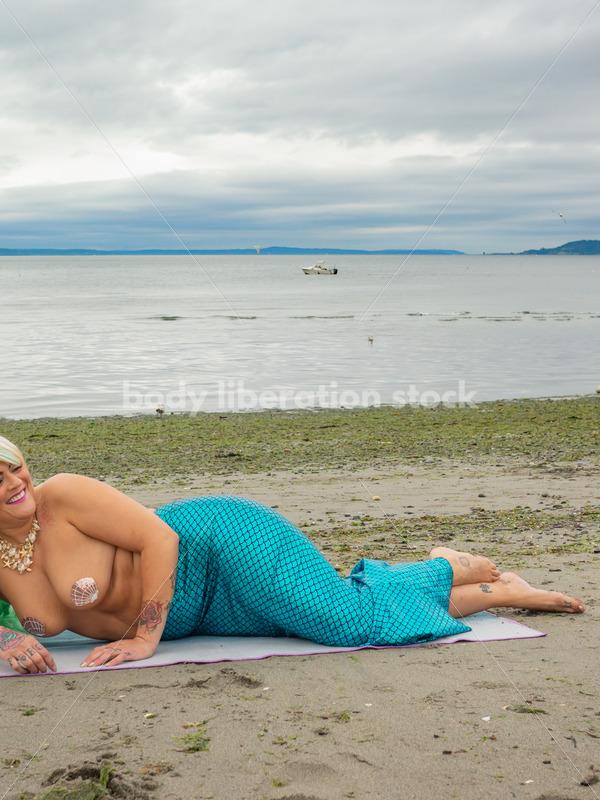 Costume Stock Photo: Plus-Size Mermaid on Beach - Body Liberation Photos