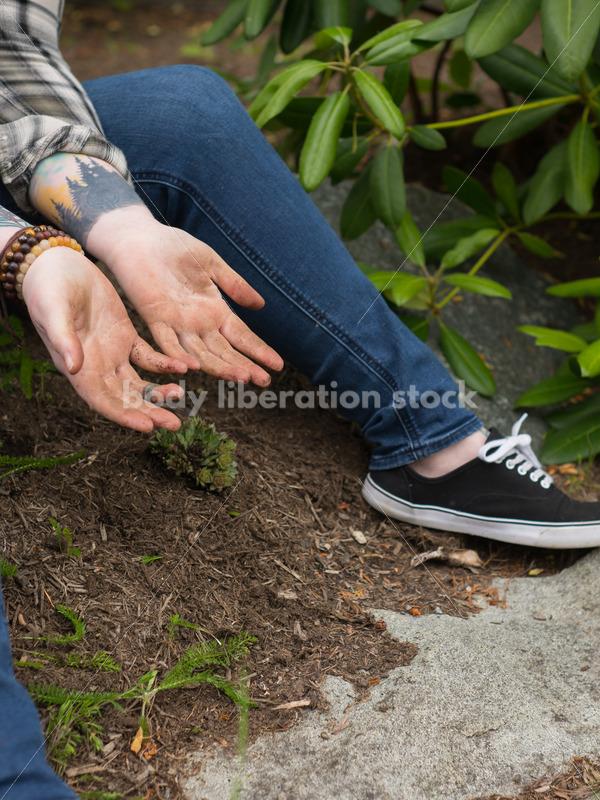 Diverse Gardening Stock Photo: Agender Person Plants Succulent - Body Liberation Photos
