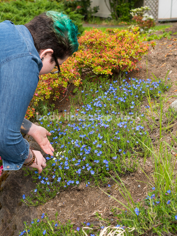 Diverse Gardening Stock Photo: Agender Person Releases Ladybugs in Garden - Body Liberation Photos
