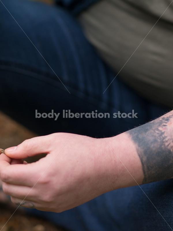 Diverse Meditation Stock Photo: Agender Person Meditates in Garden - Body Liberation Photos