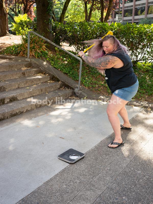Eating Disorder Recovery Stock Photo: Scale Smashing - Body Liberation Photos
