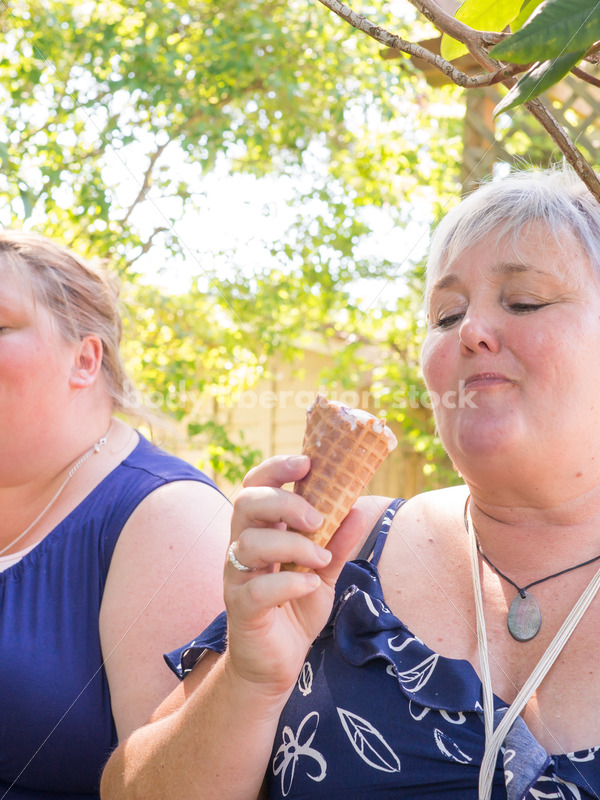 Eating Disorder Support Stock Image: Women Eating Ice Cream - Body Liberation Photos