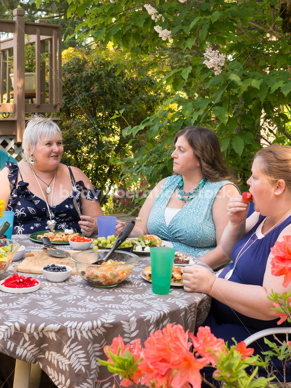 Eating Disorder Support Stock Image: Women Having Outdoor Meal - Body Liberation Photos