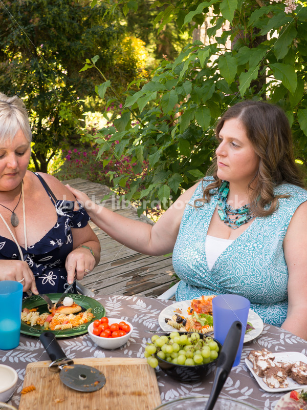 Eating Disorder Support Stock Image: Women Supporting Each Other During Outdoor Meal - Body Liberation Photos