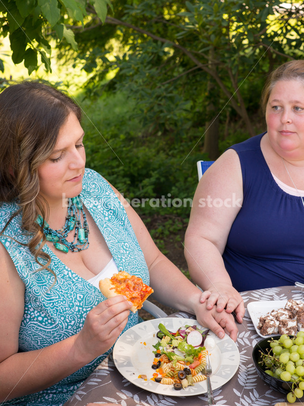 Eating Disorder Therapy Stock Image: Women Supporting Each Other During Outdoor Meal - Body Liberation Photos