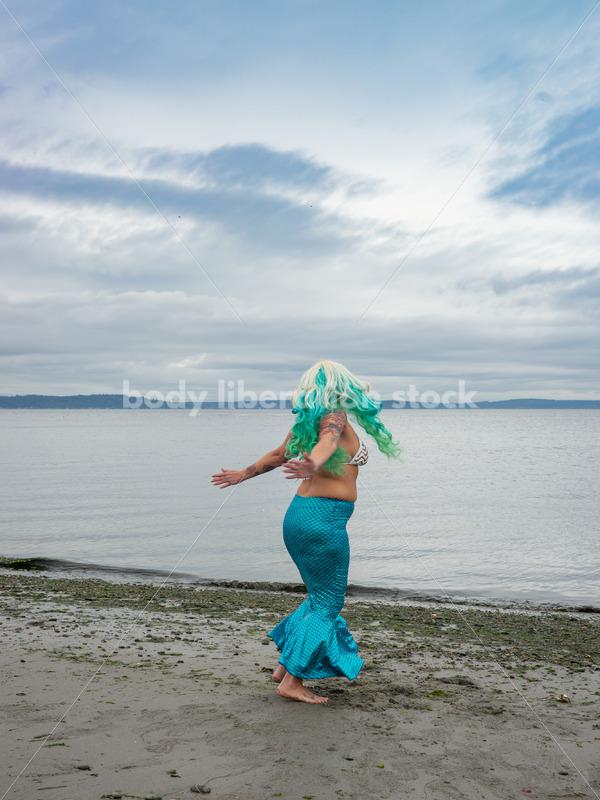 Joyful Movement Stock Image: Mermaid Jumps and Twirls - Body Liberation Photos