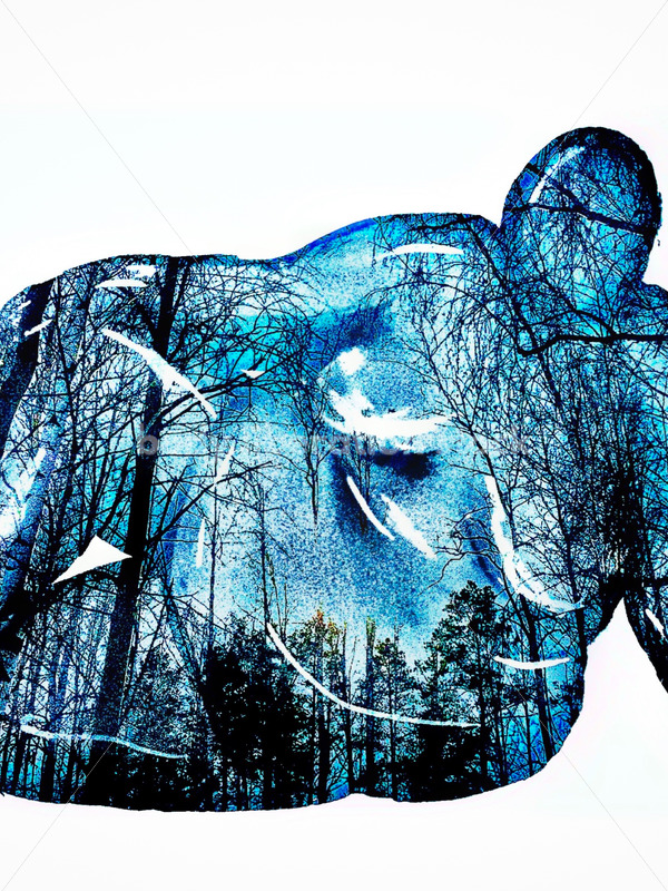 Kathryn Hack Art of Blue Woman Sitting on the ground, leaning back on hand - Body Liberation Photos