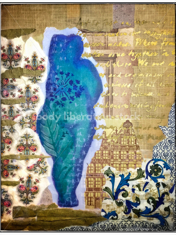 Kathryn Hack Blue/Gold mixed media collage, woman standing arm raised behind head - Body Liberation Photos