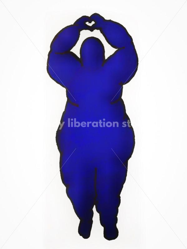 Kathryn Hack Woman Standing, heart hands dark blue - Body Liberation Photos