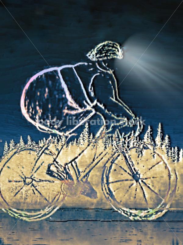 Kathryn Hack art of Night Bike Ride with headlight - Body Liberation Photos