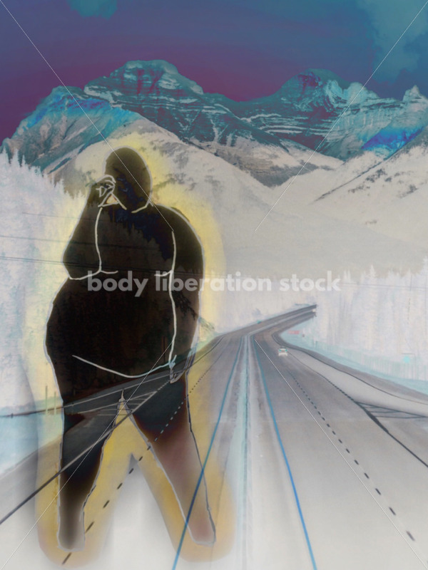 Kathryn Hack digital art of woman leaning, one hand on forehead black, mountains. - Body Liberation Photos