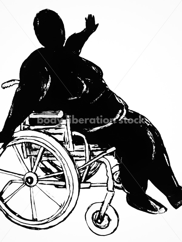 Kathryn Hack sketch of woman in wheelchair arms outstreatched black and White - Body Liberation Photos
