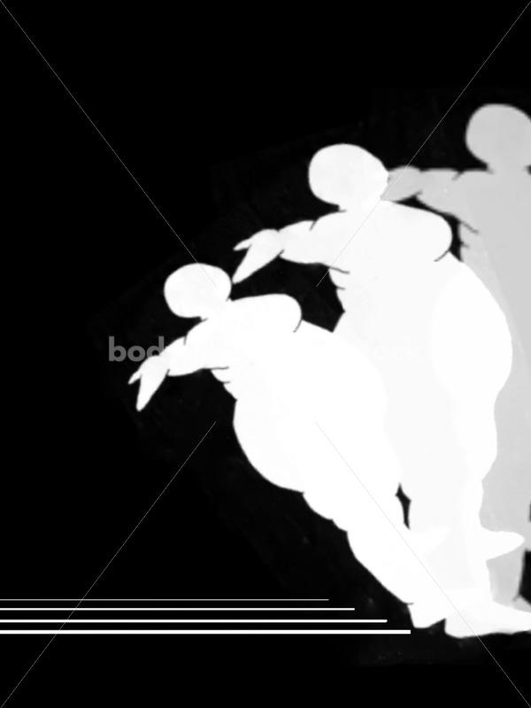 Kathryn Hack three figure illustraition falling backwards Black and White - Body Liberation Photos