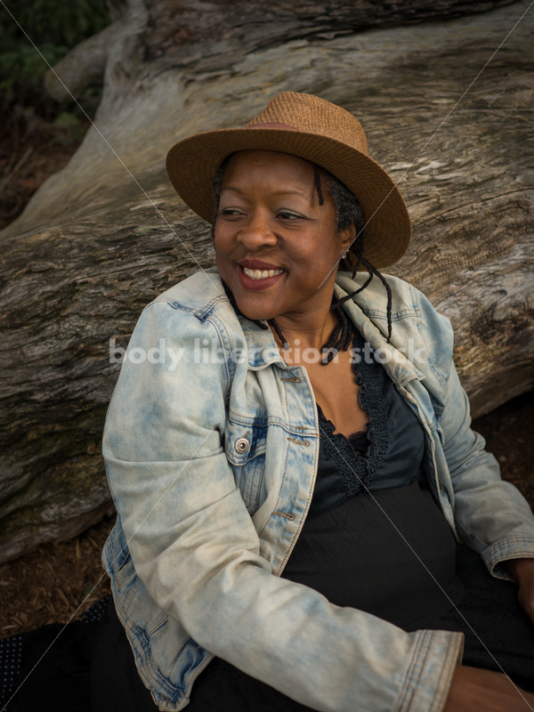 Plus-Size African American Woman Outdoors Relaxing - Body Liberation Photos