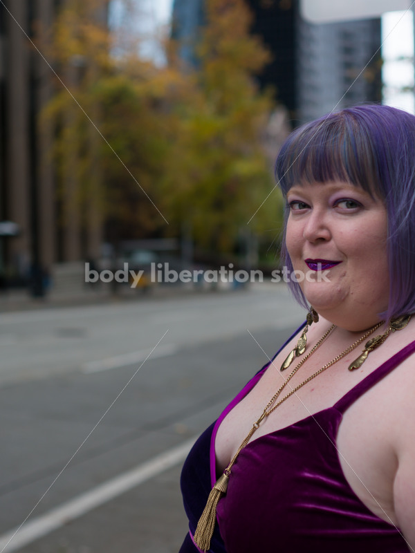 Plus-Size Woman Hails Cab on City Street - Body Liberation Photos