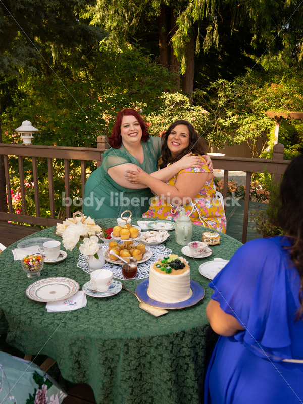 Plus-Size Women Eat, Drink, and Talk at Outdoor Summer Tea Party - Body Liberation Photos