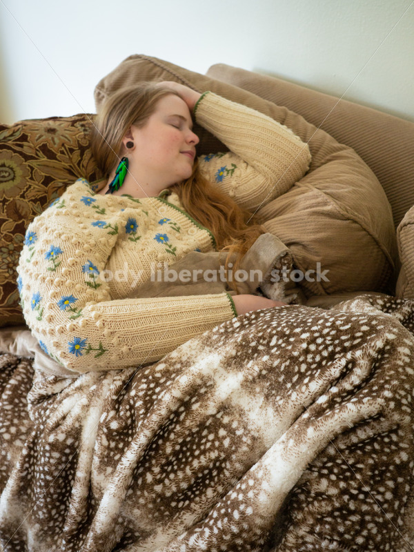 Self Care Stock Photo: Plus-Size Woman on Couch - Body Liberation Photos
