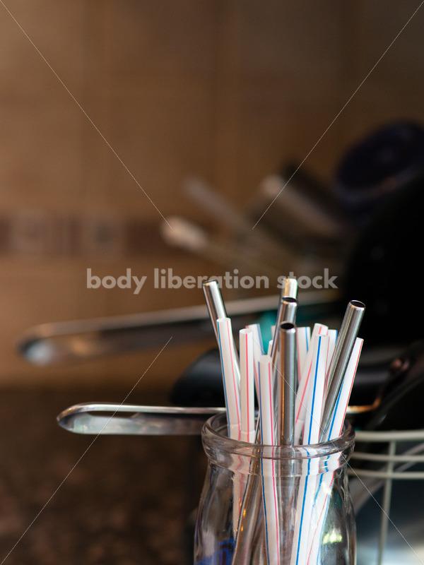 Stock Image: Single-Use Plastics – Plastic and Metal Drinking Straws - Body Liberation Photos