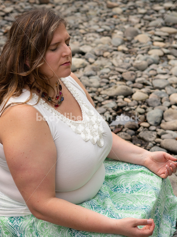 Stock Photo: Outdoor Meditation with Plus-Size Woman - Body Liberation Photos