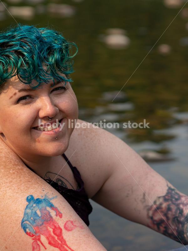 Summer Fun: Non-Binary Person in River - Body Liberation Photos