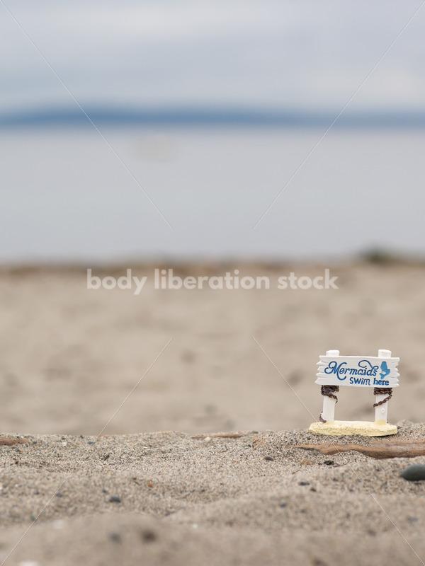 "Summer Stock Image: ""Mermaids Swim Here"" Sign on Beach - Body Liberation Photos"