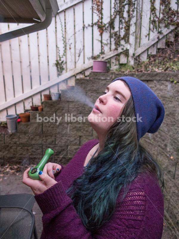 A young caucasian woman smokes legal marijuana in Washington state - Body Liberation Photos