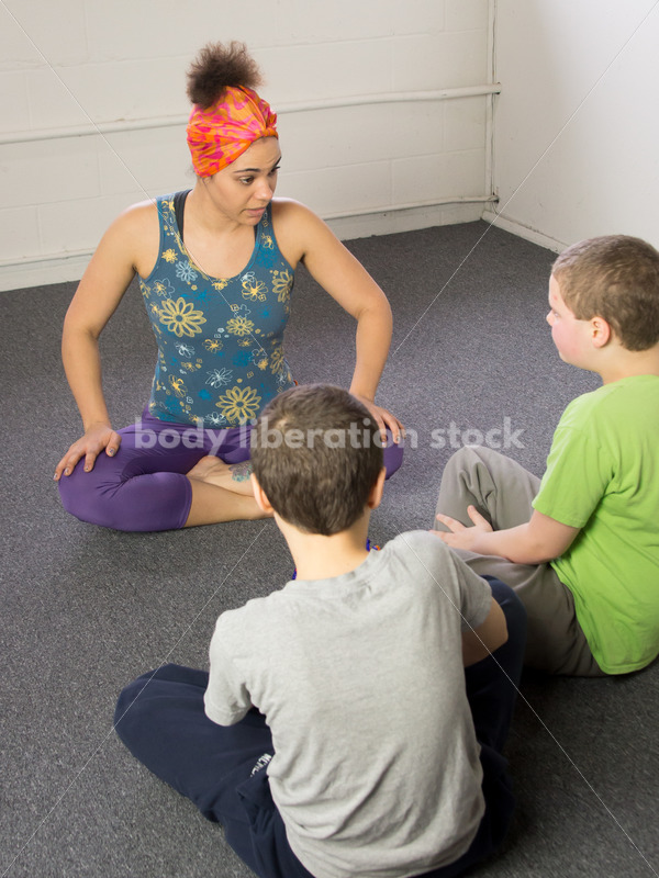 Body Positive Yoga Stock Image: Family Yoga Class - Body Liberation Photos