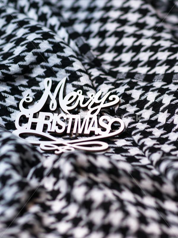 Christmas Stock Photo: Merry Christmas on Houndstooth Scarf - Body Liberation Photos