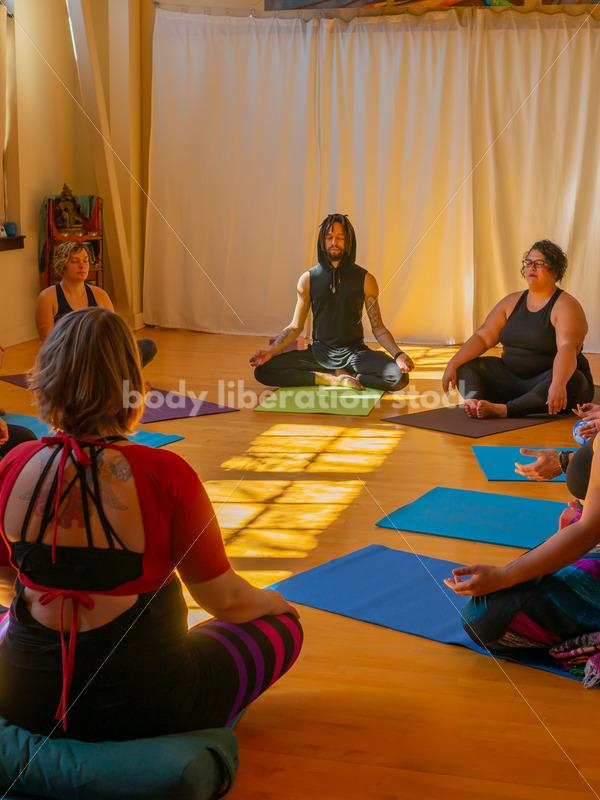 Diverse Mindfulness Stock Photo: Meditation During Yoga Class - Body Liberation Photos