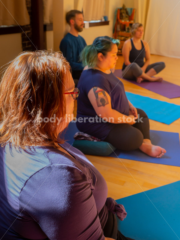 Diverse Mindfulness Stock Photo: Meditation During Yoga Class - Body Liberation Photos
