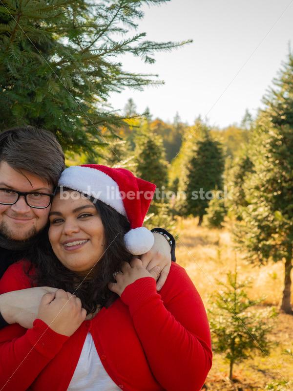 Holiday Stock Image: Plus-Size Couple at a Tree Farm - Body Liberation Photos