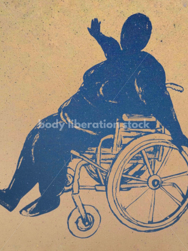 Kathryn Hack sketch of woman in wheelchair arms outstreatched blue, light background - Body Liberation Photos