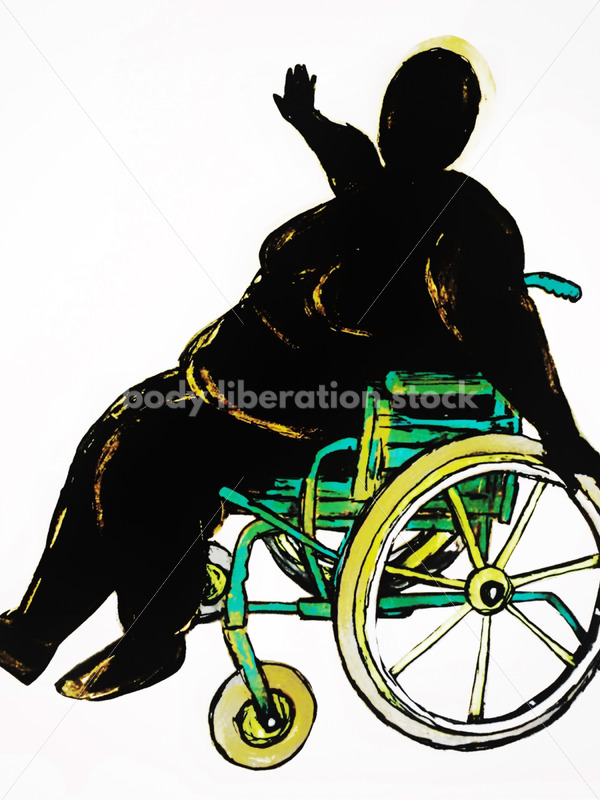Kathryn Hack sketch of woman in wheelchair arms outstreatched colorful chair/ black silhouette, white background - Body Liberation Photos