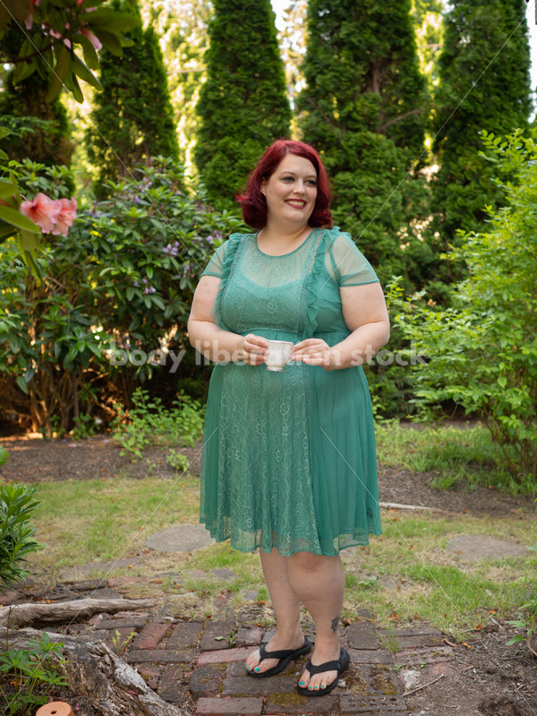 Plus-Size Woman with Teacup in Garden - Body Liberation Photos