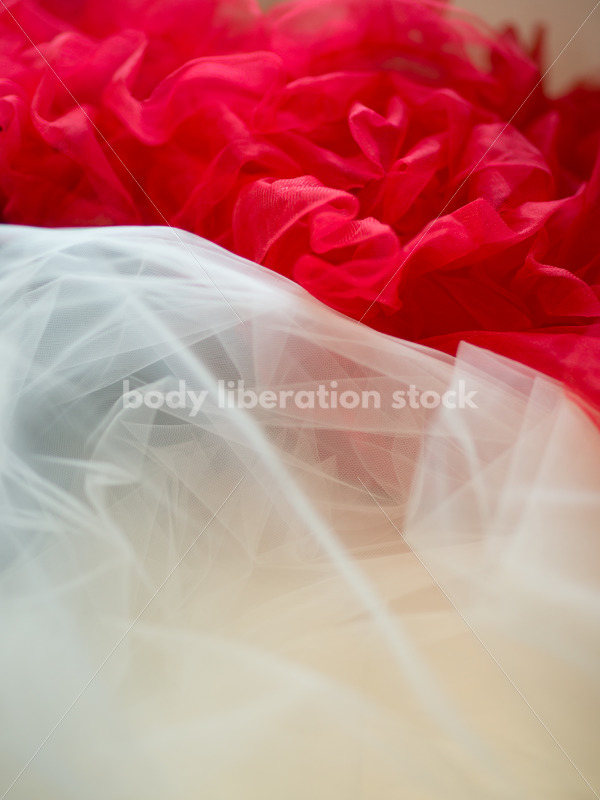 Romance Stock Image: Red and White Tulle - Body Liberation Photos