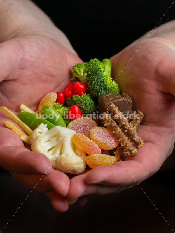 Stock Photo: Dieting Recovery Concept Man's Hands Full of Food - Body Liberation Photos