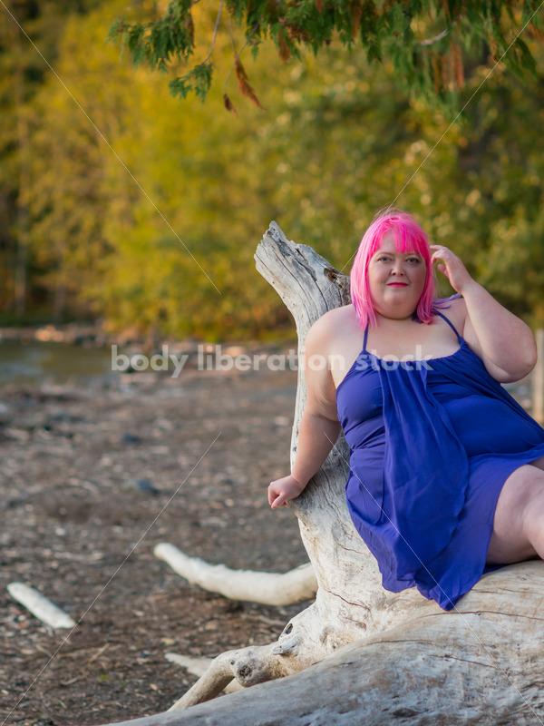 Stock Photo: Plus Size Woman with Positive Body Image on Sunset Lake Shore - Body Liberation Photos