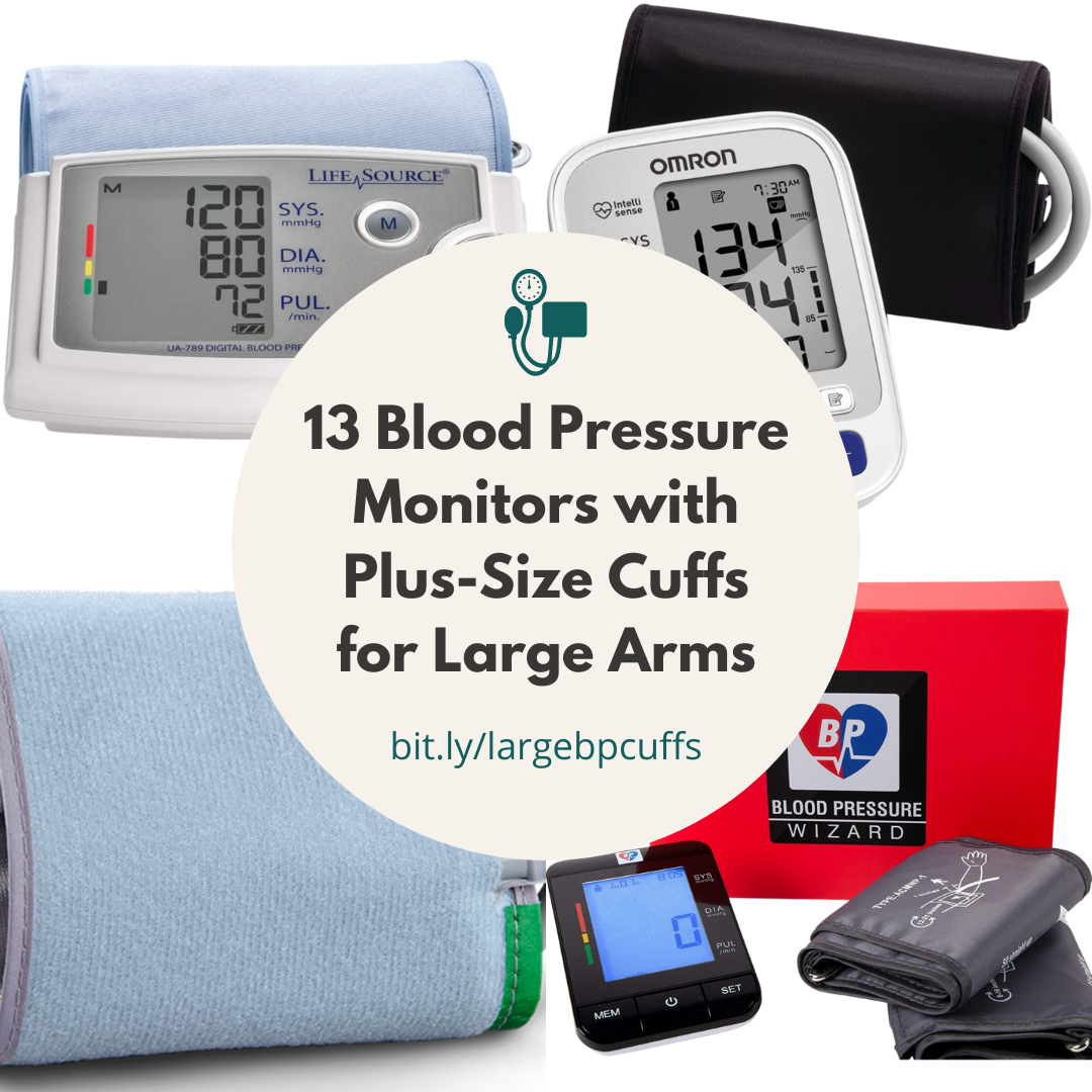 Four extra-large blood pressure monitors and cuffs are shown behind a circle with the title of this article.