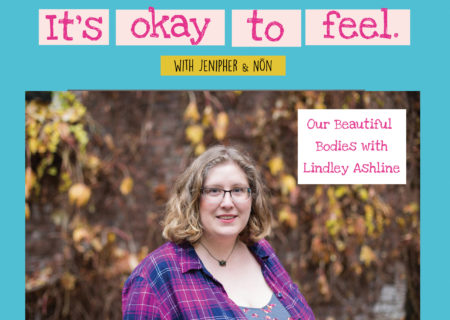 Lindley, a fat white woman, stands in a pink and blue plaid shirt in front of a wall covered in yellow and brown vines. Her photo is surrounded by a light blue border with text on top that reads, NAMI Orange County presents…It's Okay to Feel with Jenipher and Non. The podcast title is Our Beautiful Bodies with Lindley Ashline.