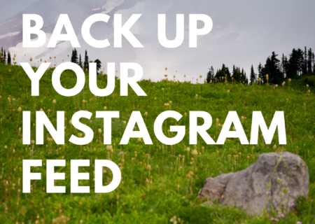 "Bold white text says, ""How to back up your Instagram feed"" on top of a photo of a snow-capped mountain and field full of wildflowers."