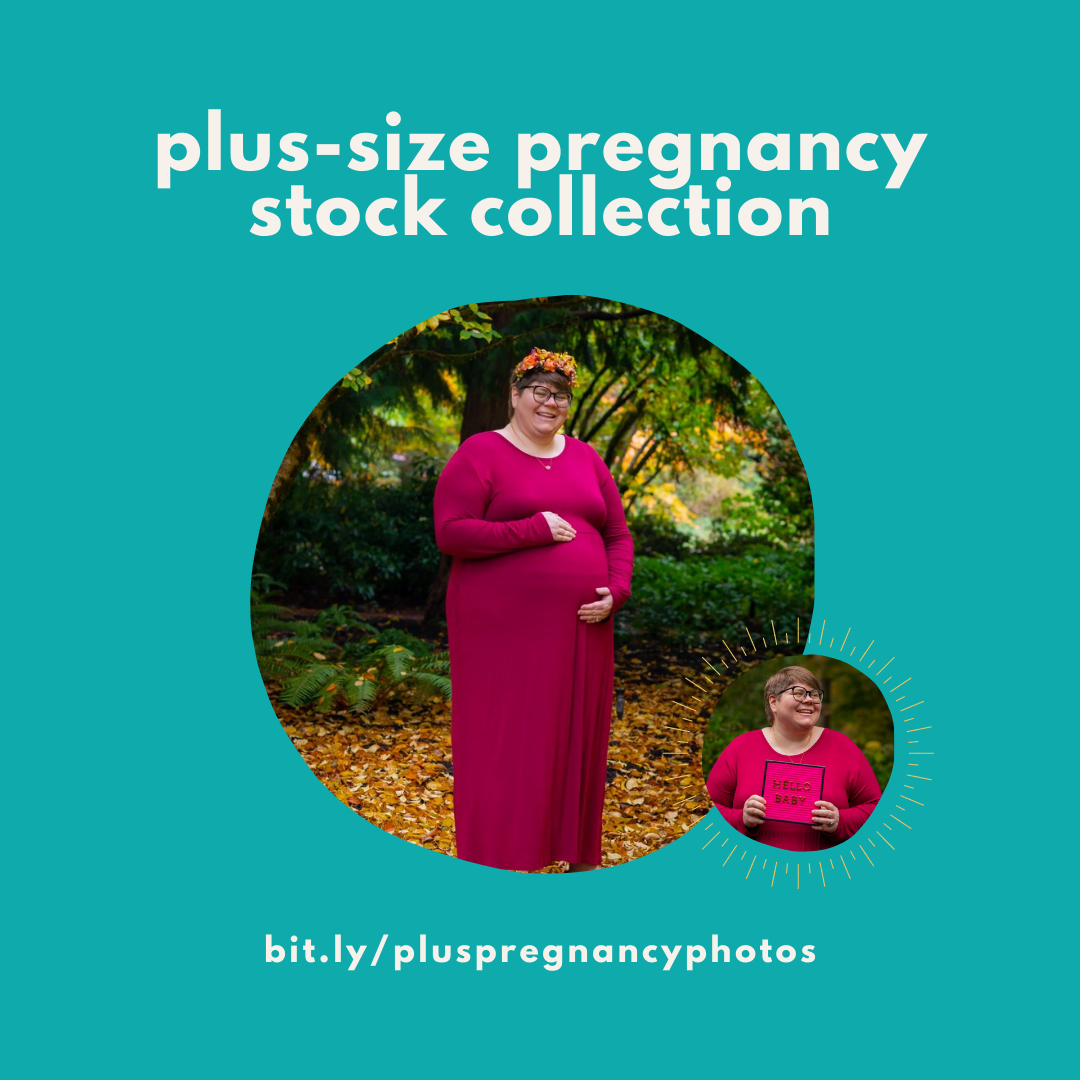"Image description: A teal square with two round images of a fat pregnant woman in a deep pink dress in the woods, one cradling her belly and one holding a HELLO BABY sign. Text reads, ""Plus-size pregnancy collection"" and the post URL. End image description."