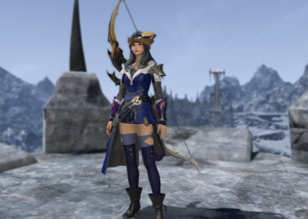 A thin, female video game character in a short skirt, carrying a bow and standing on an icy stone platform in the mountains.