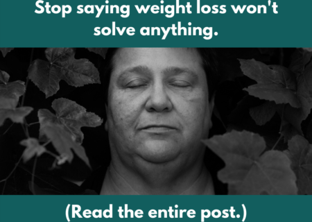A black-and-white photo of a fat woman's face with the title of the blog post.