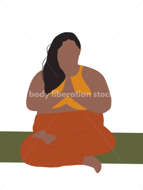 Royalty Free Yoga Illustration: Person of Color Sitting Cross-Legged with Prayer Hands - Body Liberation Photos