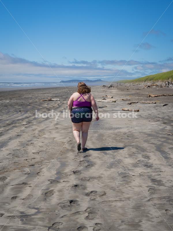 Body-Positive Stock Photo: Fat Woman on Beach - Body Liberation Photos