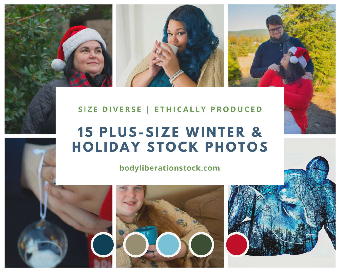 A collection of photos of larger-bodied people with the text 15 Plus-Size Winter & Holiday Stock Photos.